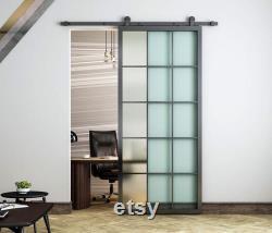 DIYHD Black Aluminum Frame Clear Glass Sliding Barn Door Slab Interior Clear Tempered Glass Partition Door Panel(Disassembled)