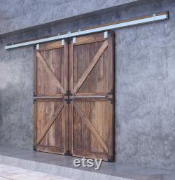 DIYHD Box Track Double Sliding Barn Door Hardware,Wall Mount Raw Material Exterior Door Kit