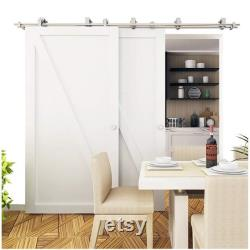DIYHD Bypass Brushed Sliding Wood Track Stainless Steel Bypass Barn Door Top Mount Track Hardware Kit
