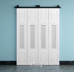 DIYHD MDF White Small Barn Door Slab Louver Style Bi-Folding Sliding Barn Door Panel,Set of 2