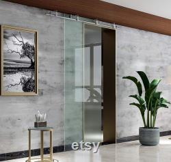 DIYHD Stainless Steel Brushed Ceiling Mount Sliding Glass Door Rolling Track Hardware
