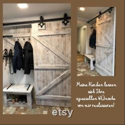 Door, sliding door, hanging door, stable door, white incl. rolls and rail