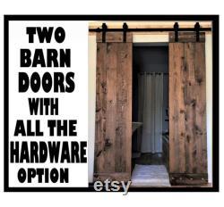 Double Barn Doors HARDWARE Option-6.6 Ft sliding Double Barn Door Track Kit. SOLID WOOD-pine.T0TAL of-34 wideX 84 Tall (Each door is 17 wide