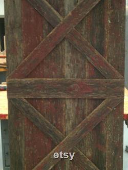 Double X Sliding Barn Wood Door - Reclaimed Wood Rustic Style - With Barn Door Hardware - Flat Black