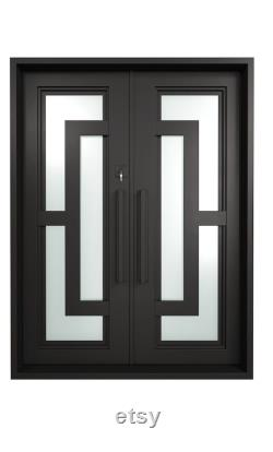 Double iron doors w frosted glass