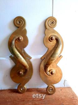Early 1900s YandT Vintage Door Large Handle Antique Gold Brass Hardware Pull, art nouveau 1 OR 2 piece, Mid-Century Home Design 14 Long