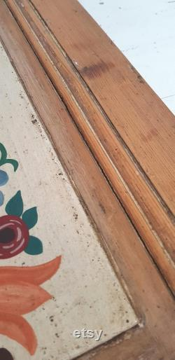 French Traditional Painted Folk Art Wood Cabinet Door