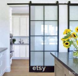 Frosted Glass Interior Door With Black Steel Frame, Steel sliding barn door with hardware