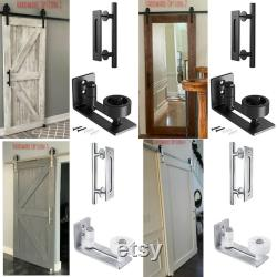 Full Length Mirror Sliding Barn Door Single Sided Distressed White (customizable finish and sizes are available) Hardware Optional