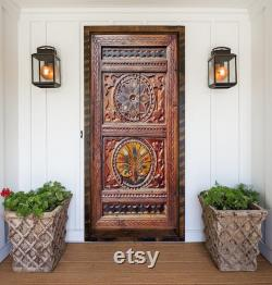 Hand-Carved Wood Farmhouse Barn Door, Rustic Entry Front Door, Double or Single interior Doors, Dining Table, Bed Headboard, Wall Art Decor