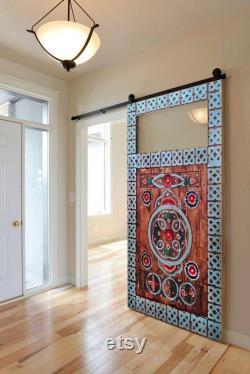 Hand-carved Glass Barn Door, Double Sliding Window Barn Doors, Solid Wood Vintage interior Door, Antique Door, Rustic, Farmhouse, Front Door