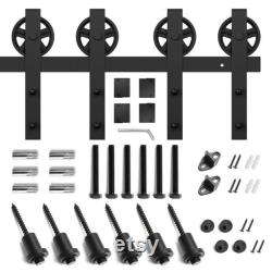 Heavy Duty Double Barn Door Hardware Kit Smooth and Quiet with Bigwheel Hanger 8FT, 10FT, 12FT Double Door