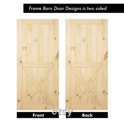 Homacer 5-in-1 Pine Wood Frame Barn Door with Installation Hardware Kit Classic Design Roller