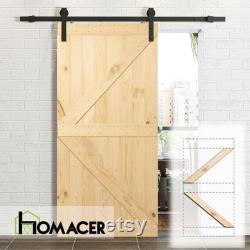 Homacer 5-in-1 Pine Wood Frameless Barn Door without Installation Hardware Kit