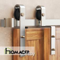 Homacer Brushed Nickel Single Track Bypass Sliding Barn Door Hardware Kit Classic Design Roller