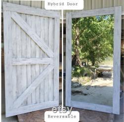 Hybrid Door Framed British Brace Full Length Mirror Sliding Barn Door (customizable finish and sizes are available) Hardware Optional