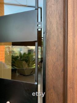 Jordan Modern Pre-hung and Finished Mahogany Wood and Iron Door