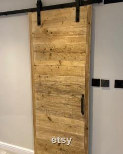 LYTHAM- Rustic Sliding Door- Made From Reclaimed Wood- Farmhouse Style Door with Industrial Steel Runner