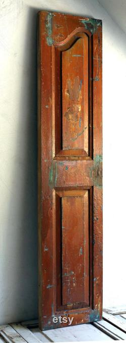 Large Antique French Wooden Shutter with Carved Detail Old Door Distressed Paint Rustic Oak Panel Architectural Salvage Backdrop SFV