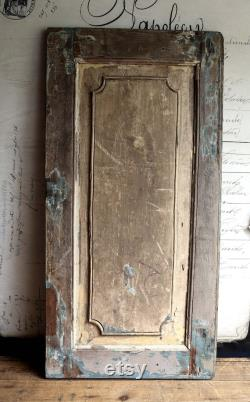 Large Antique French Wooden Shutter with Carved Detail Red White and Blue Painted Oak Panel Old Door Architectural Salvage Backdrop SFV