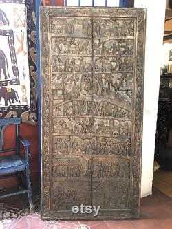 Large Indian Wood Door Panel, Decorative Ethnic Wooden Art, Vintage Wood Art Home Decor, Bohemian Collectable Findings, Barn Wood Decor