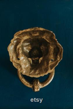 Late 1800s (19th Century) Victorian Brass Lion Head Architectural Salvage Hardware Door Knocker