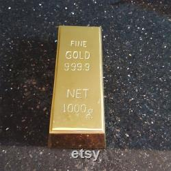 Lot of 4 pieces unique Fake fine 999 GOLD Bullion Bar Paper Weight 6 Solid Polished original Brass cast hollow Inside very heavy door stop