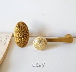 Louis XVI style Antique small door handle and knob Bronze Porcelain French salvaged hardware