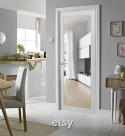 Lucia 2166 Slab Barn Door Panel Frosted Glass White Silk Sturdy Finished Doors