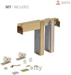 Lucia 2166 Sliding French Pocket Door White Silk with Kit Trims Rail Hardware Solid Wood Interior Bedroom Sturdy Doors