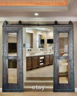 Mirror Barn Door, Double or Single Sliding Hand carved solid Wood Antique Vertical Wooden Mirror Frame, Bedroom,Bathroom,Living Room Doors