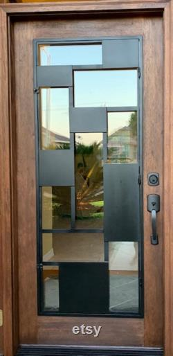 Modern Pre-Hung and Finished Mahogany Wood and Iron Door