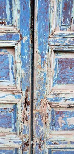 Moroccan Old Hand Painted Double Door, Wooden 23MO17
