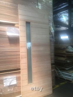 Nobu- Modern Solid Mahogany Wood Horizontal Planks Entry Door with Vertical Glass
