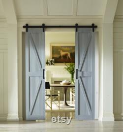 PVC Board and Batten Sliding Split (Double) Barn Doors 36 x84 Charleston Gray
