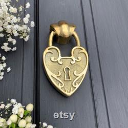 Padlock Heart Door Knocker Available in 4 finishes Unique front door decor Made from recycled brass