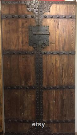 Pair of Antique Chinese Temple Gate Doors Circa 1940s