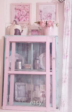Pair of Very Old Shabby Chic Pink Chippy Painted Farmhouse Cupboard or Cabinet Doors