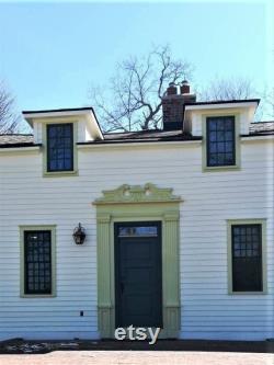 Pediment, Swan's neck style, entrance door art, front door exterior door, woodcarving, house facade