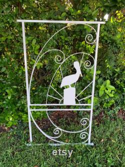 Pelican in the Sunset, Vintage Style, Screen Door Grille, Attach to Screen Door for Custom Coastal Style, Metal, Custom Sizing, Colors Avail