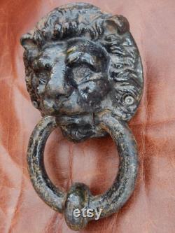 Period Lion Door Knocker, Antique Door Furniture, Cast Iron Victorian Lion Doorbell, Period Traditional Lion, Antique Front Door Lion ,