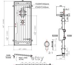 Pre-hung Front Entry Wrought Iron Single Door Verbier 38 x 96 Rain Glass Oil Rubbed Bronze
