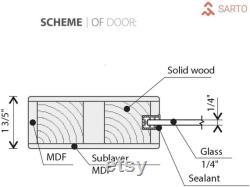 Quadro 4002 Solid Panel Interior Sturdy Barn Doors Grey Ash with Top Mount 6.6FT Rail Hangers Heavy Hardware Set
