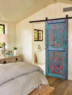 Rooster Carved Farmhouse Barn Door, Wooden Rustic Garden Patio Door, Antique Door, Dining Table, Boho Coffee Table, Wood Wall Art Decor