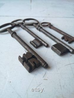 Set of 4 of Large French Antique Skeleton Keys from the 1800s