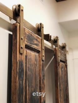 Solid Antique Brass Single Door Sliding Barn Door Rustic Hardware with 3 Smooth Rolling Caster Metal Wheels Vintage Industrial Hardware Set
