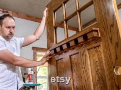 Solid hardwood front door with safety glass. Custom, hand-made front door in farmhouse-decor.