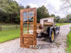 Solid hardwood front door with safety glass. Hand-made, contemporary door in farmhouse-decor.