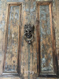 Stunning 19th Century Very Large ANTIQUE DOOR KNOCKER Large Solid Brass Original Worn Faded Grandeur Door Hardware Great Authentic