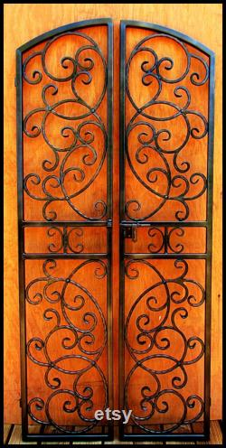 The Bordeaux Iron Wine Cellar Double Door Gate, Hand Forged Steel, 36 by 80 Eyebrow Arch